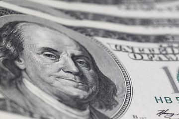 Franklin stare on one hundred dollars banknote