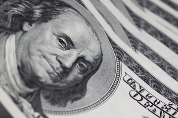 portrait of Franklin on one hundred dollars banknote