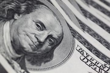 portrait of Franklin on one hundred dollars banknote