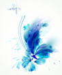 Tender background with blue abstract flower and butterfly on it