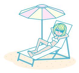 日光浴を楽しむ女性