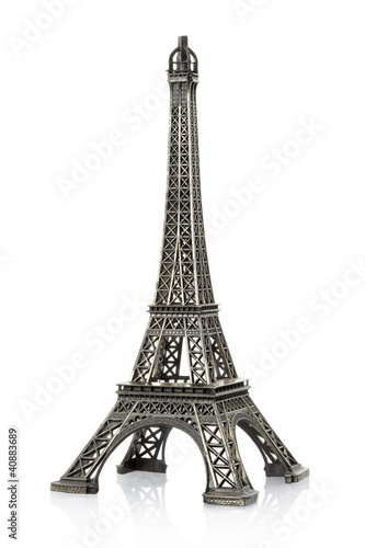 Eiffel tower on white, clipping path included