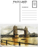 Empty Blank Postcard Template London Bridge Image