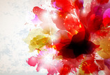 Fototapety Abstract background with red and pink elements formed flower