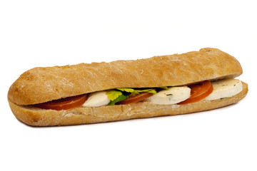 Bocata with mozzarella cheese on a white background