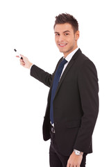 business man presenting with marker
