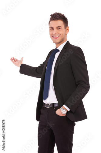 Happy business man presenting