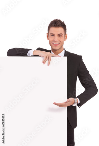 young business man showing  board