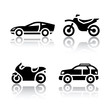Set of transport icons - sports transportation