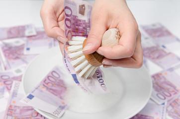 Geldwäsche - Geldschein waschen