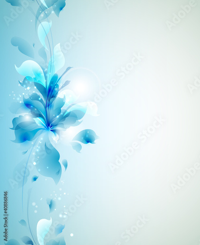 Seamless Tender background with blue abstract flower
