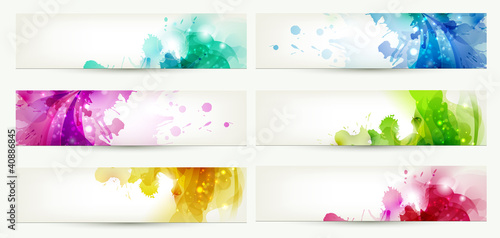 set of six banners, abstract headers with varicolored blots