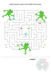 Help the frog friends to meet in the middle of the maze