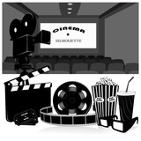 Vector illustration.Cinema symbols vector set