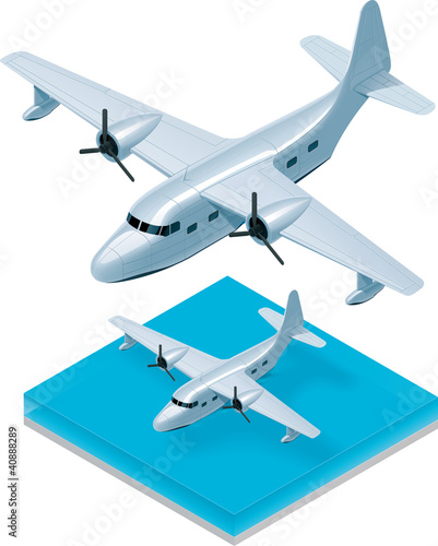 Vector isometric seaplane