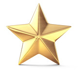 Gold star isolated on white