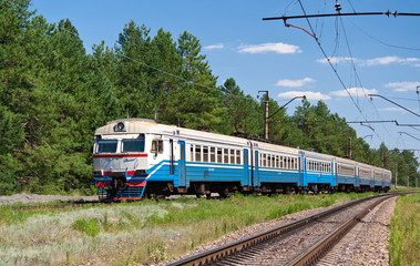 Suburban electric train in Ukraine