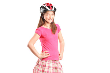 A portrait a happy girl wearing sport helmet