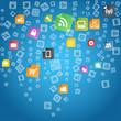 Modern social abstract media icons falling down