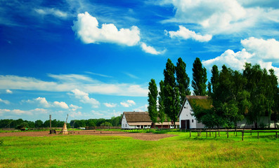 Landscape of Hungary with a farmhouse