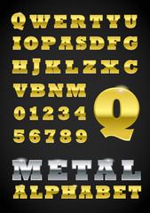 Set of metal vector letters