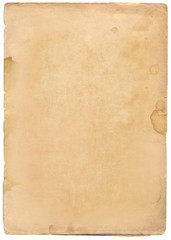 Old paper texture isolated on white