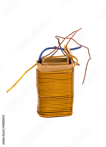 transformer metal wires  plates object isolated