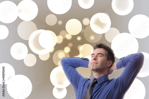 Dreaming Businessman in front of Bubbles