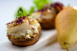 canape with pear and walnuts