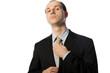 Businessman tying gallow tie