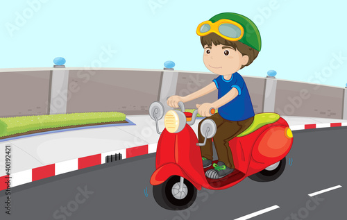 Boy on a scooter
