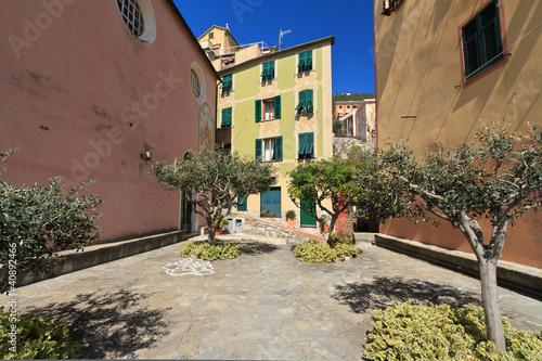 Sori, small square, Liguria,  Italy