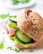 Healthy Wholemeal Sandwich with Ham and Vegetables