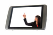 Tablet Pc and woman pointing a finger up