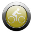 "Yellow Metallic Orb Button ""Bicycle Symbol / Bicycle Trail"""