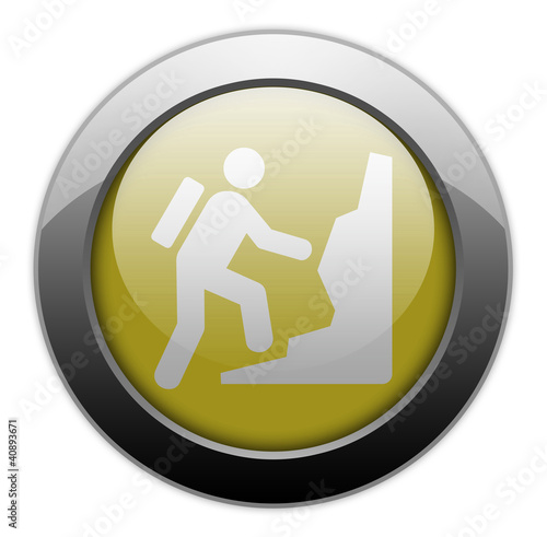 "Yellow Metallic Orb Button ""Climbing"""