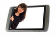 Tablet PC and woman looks out