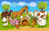 Fototapety cartoon rural scene with farm animals