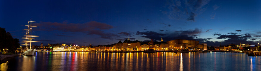 Night panoramic view of Stockholm
