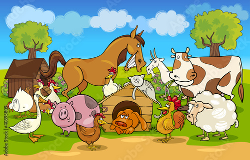 Tuinposter Pony cartoon rural scene with farm animals