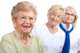 Elderly woman portrait with girlfriends.
