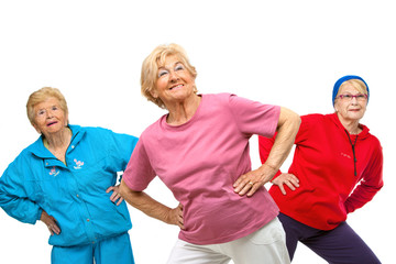 Threesome senior women getting fit.