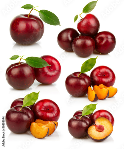 Set of ripe red plums fruit isolated on white