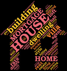 house  shaped tag cloud
