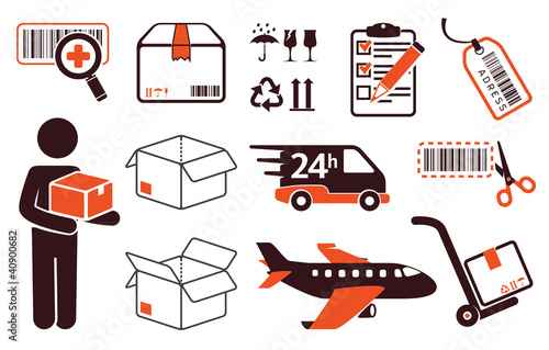 Mail delivery, transportation symbols