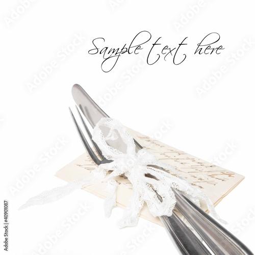 Leinwanddruck Bild Edles Silberbesteck isoliert im Shabby Look