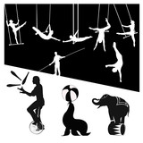 Vector silhouettes.Circus show poster