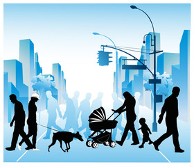 Vector illustration of various people walking through a city