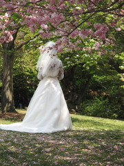 Bride in Wedding Gown Standing Under Cherry Blossom Tree