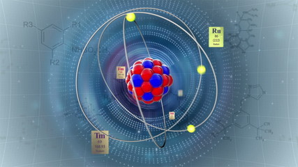 Atom model with elements of Periodic table and formulas